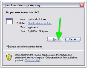 Running the Java Installer