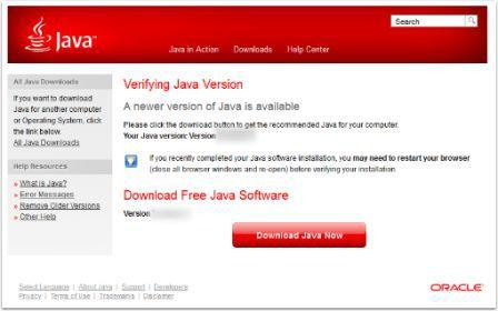 Verifying Java Result Newer Version Available