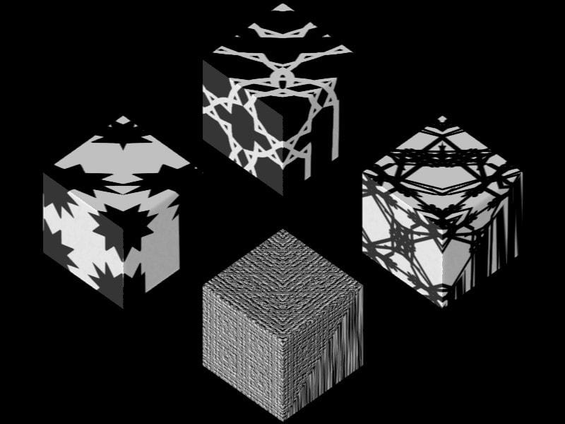 Texture Set 4 Tree js Supershape Starblur Taprats | Texture Set #4_ Tree_js Supershape3d... Black on White