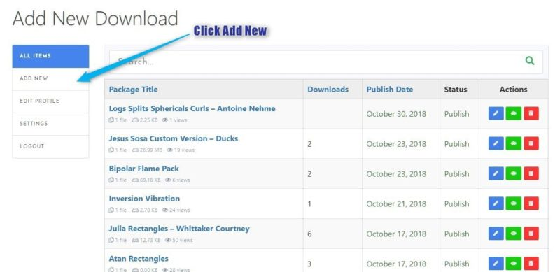 1 Click Add New | How to add a download to the site.