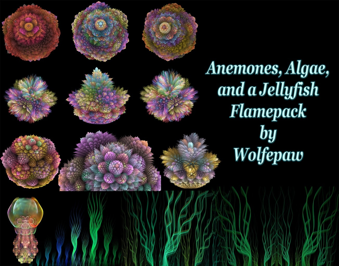 A flamepack containing 13 params for anemones, algae, and a lone jellyfish (how did he get in there)...