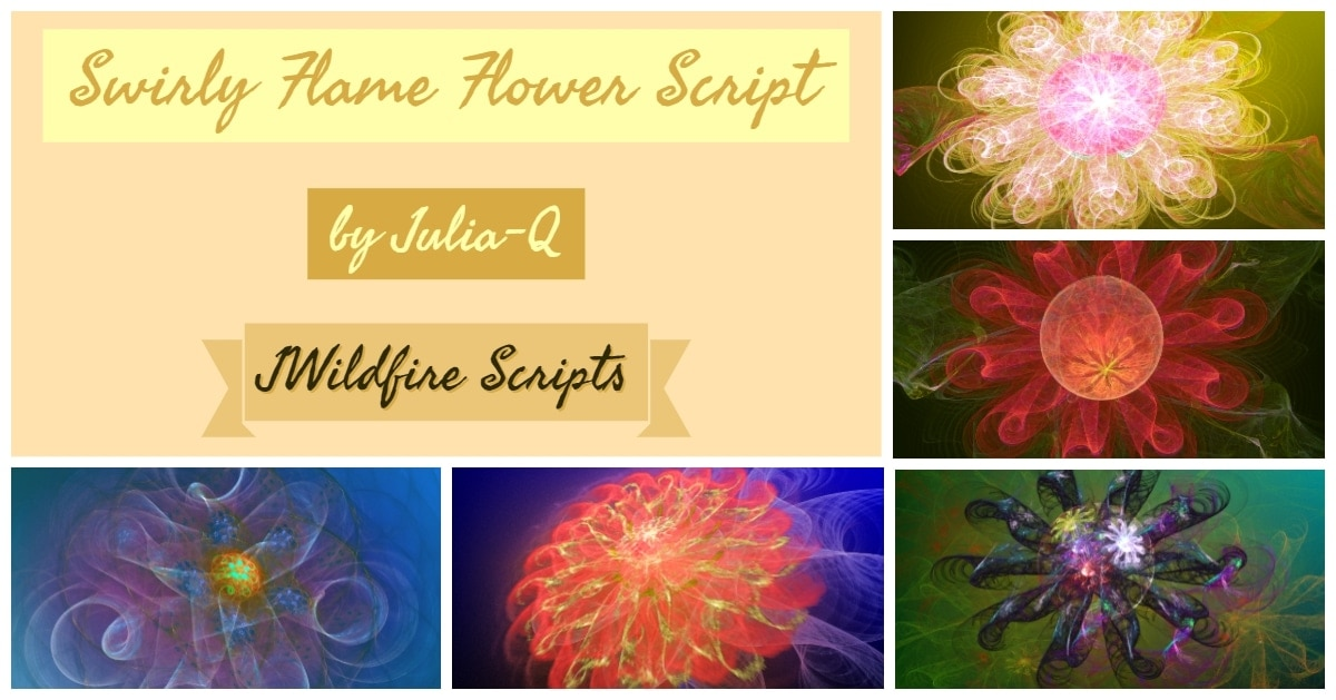 Swirly Flame Flower Script Package Display Image | Swirly Flame Flower