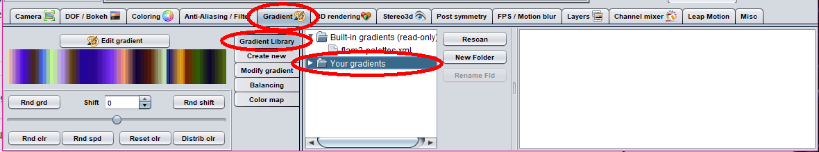 Click Gradient then Your Gradients   Adding New Gradients to JWildfire