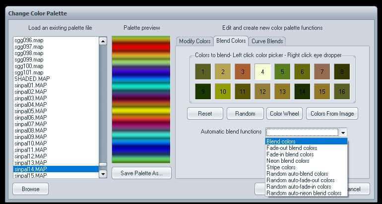 6 Select Blend Type then num of colors | How to use Visions of Chaos to grab gradient from Image