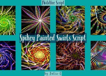 Spikey Painted Swirls Script